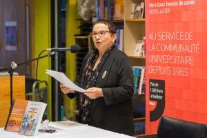 Lancement de Développement durable - Une communication qui se démarque Sur la photo : Solange Tremblay, codirectrice de l'ouvrage. Crédits : Nathalie Choquette – NATHALIE PHOTOGRAPHIE
